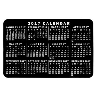 2017 Year Monthly Calendar Classic Black and White Rectangular Photo Magnet