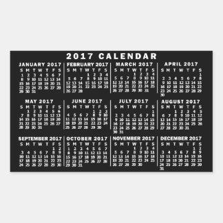 2017 Year Monthly Calendar Classic Black and White Rectangular Sticker