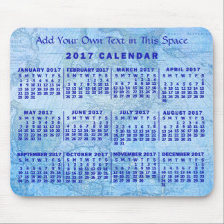 2017 Year Monthly Calendar Custom Blue Antique Map Mouse Pad