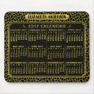 2017 Year Monthly Calendar Gold Black Art Deco Mouse Pad