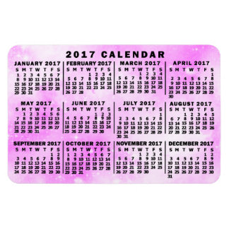 2017 Year Monthly Calendar Pink Watercolor Stars Rectangular Photo Magnet
