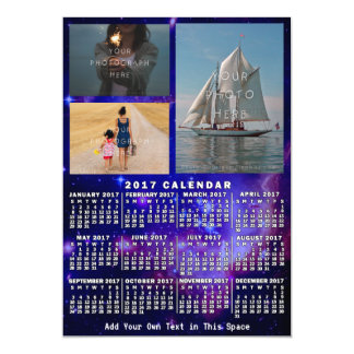 2017 Year Monthly Calendar Space Nebula 3 Photos Magnetic Card