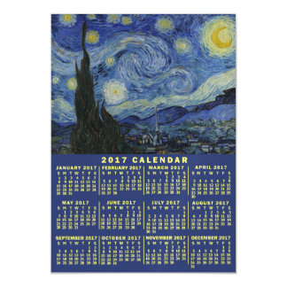 2017 Year Monthly Calendar Starry Night Van Gogh Magnetic Card