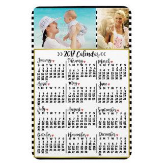 2017 Year Monthly Calendar Stripes | Custom Photos Magnet
