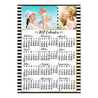 2017 Year Monthly Calendar Stripes | Custom Photos Magnetic Card