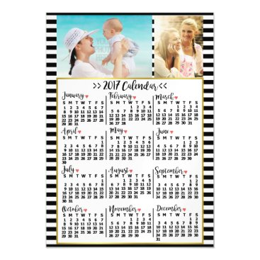 Professional Business 2017 Year Monthly Calendar Stripes | Custom Photos Magnetic Card