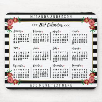 2017 Year Monthly Calendar Trendy Floral Stripes Mouse Pad