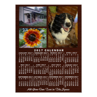 2017 Year Monthly Calendar Wood Custom 3 Photos Poster