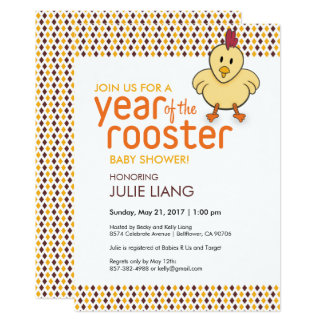 2017 Year of the Rooster Baby Shower Card