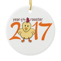 2017 Year of the Rooster Ceramic Ornament
