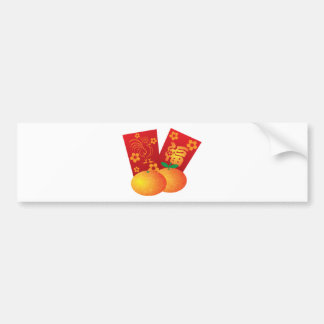 2017 Year of the Rooster Red Packets Illustration Bumper Sticker