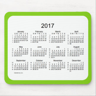 2017 Yellow Green 52 Weeks Calendar by Janz Mouse Pad