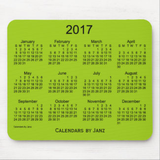 2017 Yellow Green Calendar by Janz Mouse Pad