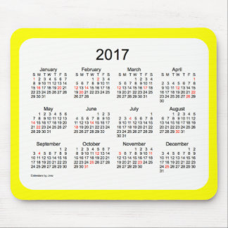 2017 Yellow Holiday Calendar by Janz Mousepad