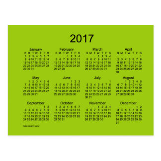 2017 Yellowgreen Mini Calendar by Janz Postcard