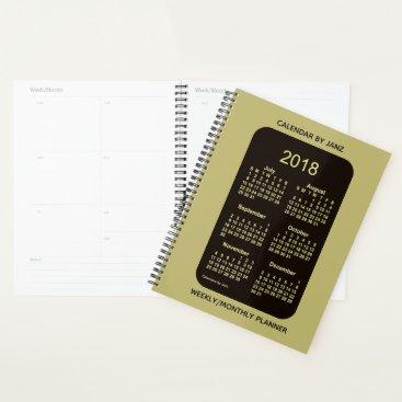 Beach Themed 2018-2019 Neon Gold School Year Calendar by Janz Planner
