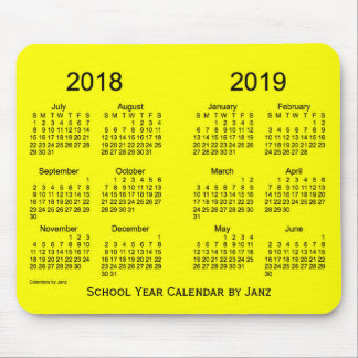 2018-2019 School Year Yellow Calendar by Janz Mouse Pad