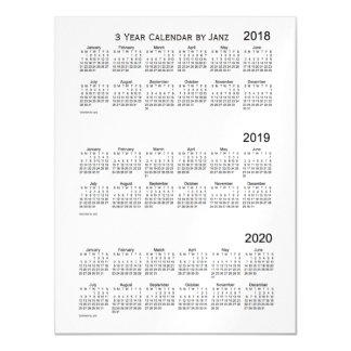 2018-2020 White Smoke 3 Year Calendar by Janz Magnetic Card