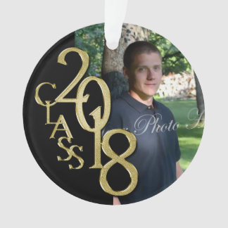 2018 Black and Gold Graduation Photo Ornament