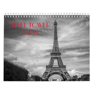 2018 Black & White Paris Eiffel Tower Calendar