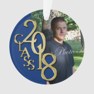 2018 Blue and Gold Graduation Photo Ornament