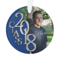2018 Blue and Silver Graduation Photo Ornament