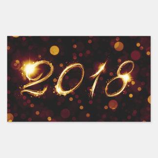 2018 (bokeh lights) rectangular sticker