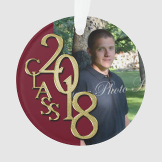 2018 Burgundy and Gold Graduation Photo Ornament
