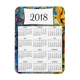 2018 Calendar Colorful Abstract Magnet
