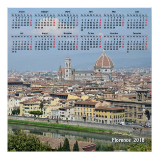 2018 calendar Florence, Italy Poster