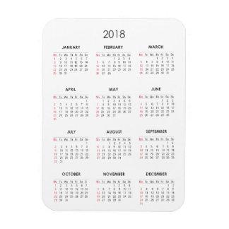 2018 Calendar Magnet White Plain Basic