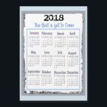 "2018 Calendar Magnetic Card for your Refrigerator<br><div class=""desc"">2018 Calendar Magnetic Card for your Refrigerator gray and blue</div>"