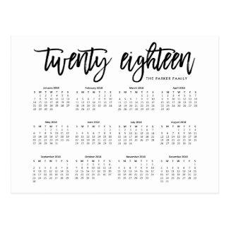 2018 Calendar | Modern Typography Postcard