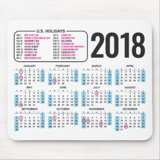 2018 Calendar Mousepad with U.S. Holidays
