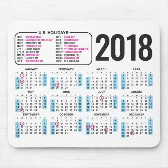 2018 calendar mousepad with us holidays