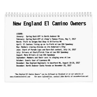 2018 Calendar of New England El Camino Owners