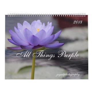 2018 calendar purple flowers