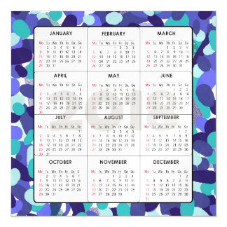 2018 Calendar Square Magnetic Blue Dots Magnetic Card