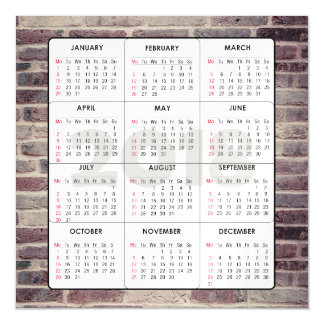 2018 Calendar Square Magnetic Brick Wall Magnetic Card