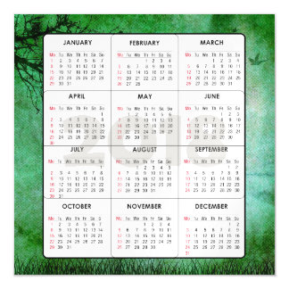 2018 Calendar Square Magnetic Nature Green Magnetic Card