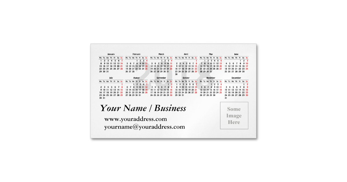 Calendar Template Magnetic Business Card Zazzlecom - Business card calendar template