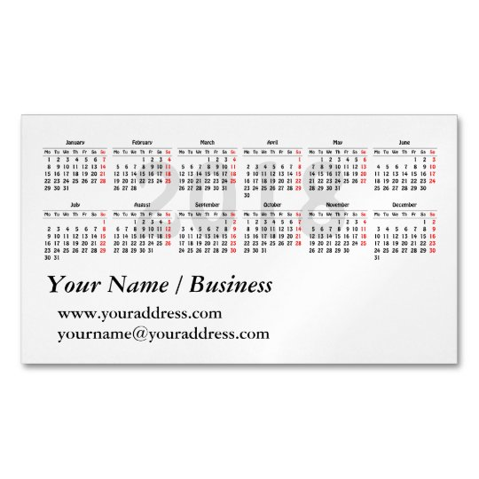 2018 calendar template magnetic business card zazzle 2018 calendar template magnetic business card colourmoves