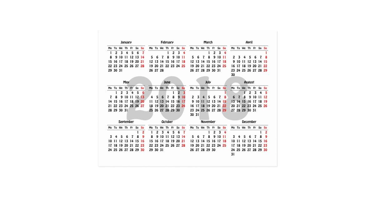 2018 Calendar Template Postcard Zazzle