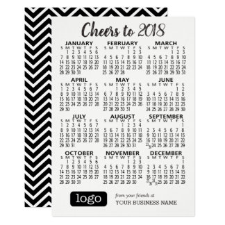 2018 Calendar w/ Business Name & Logo Black White Card
