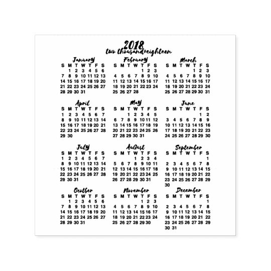 2018 calendar year at a glance ink calligraphy self inking stamp