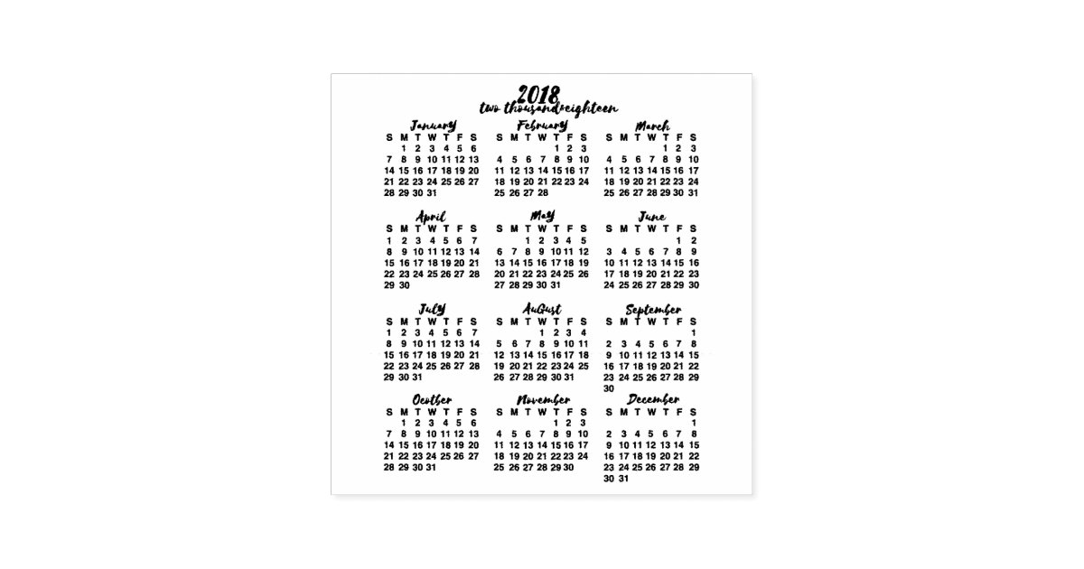 2018 calendar year at a glance ink calligraphy self inking stamp zazzlecom