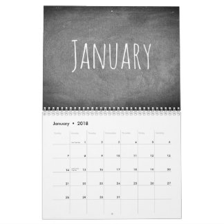 2018 Chalkboard Calendar Black and White Text