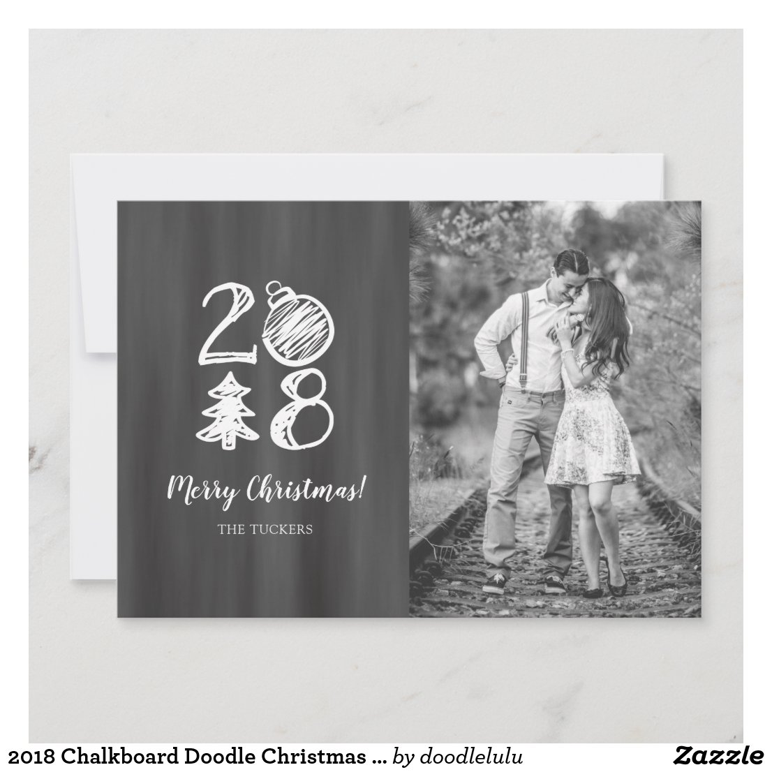 2018 Chalkboard Doodle Christmas Photo Holiday Card