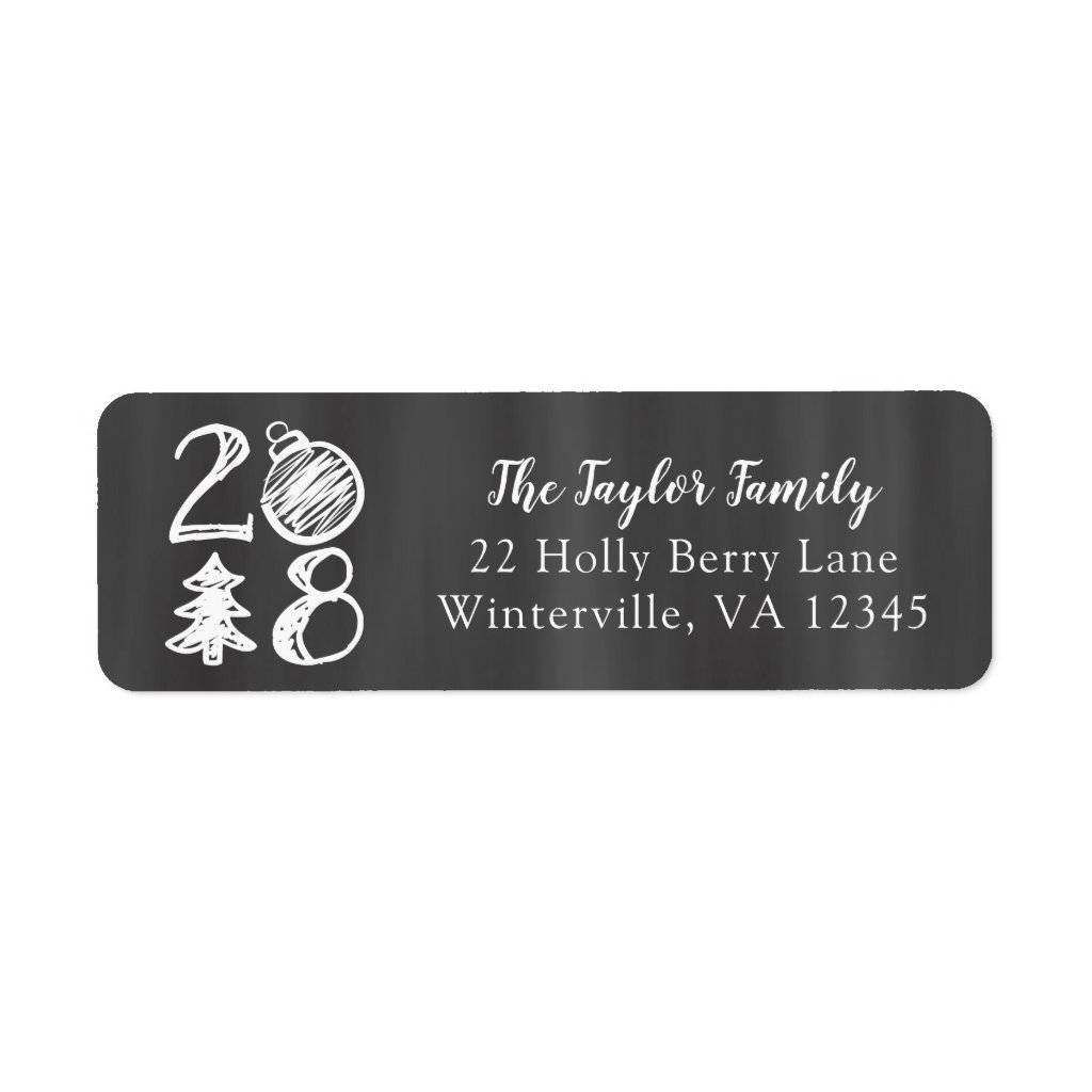 2018 Christmas Chalkboard Doodle Christmas Card Label