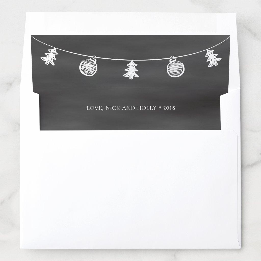 2018 Christmas Chalkboard Doodle Envelope Liner